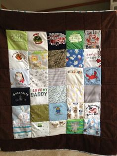 quilt made from onesies from their first year was going to give away all my son clothes but know im going to learn how to turn them intoo a quilt thank you who ever came up with this idea genius !