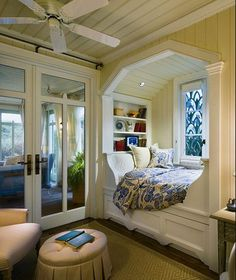 Love cute little cozy nook beds or window seats. Perfect for a kids' room or reading area. Looks like a great place to curl with with a cup of tea and a good book! --A hobbit hole reading nook!!!