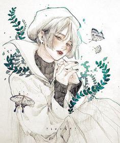 White butterfly girls in 2019 manga Aesthetic Anime, Aesthetic Art, Pretty Art, Cute Art, Manga Illustration, Character Illustration, Animation 3d, Anime Gifs, Anime Art Girl