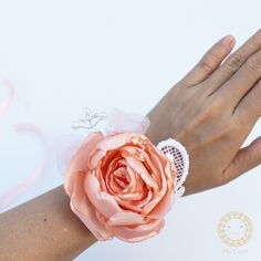 Wedding corsage peach rose *.*handicraft by Miki*.*