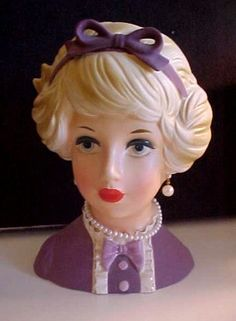 """Lark Lady Head Vase with Bow 7"""" in Lavender"""