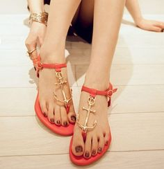 f3f194dea52 Alloy Anchor Connecting Thong Sandal Size  US 5.5 US 6  US 7