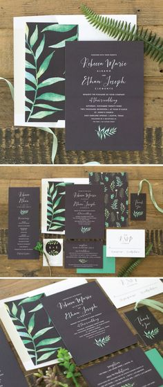 Calligraphic Botanical wedding suite with modern font and watercolor ferns.