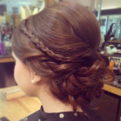 Rigsby Frederick Salon - Updo with braid - bridesmaids hair - low bun with braid -