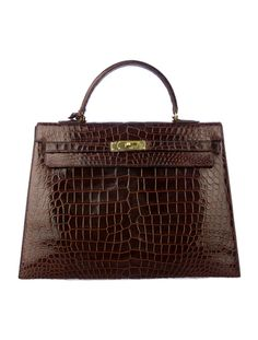 3bdbf9b4fa Available Now  Hermès Dark Brown Crocodile Kelly 35cm Bag. Hermes Bags