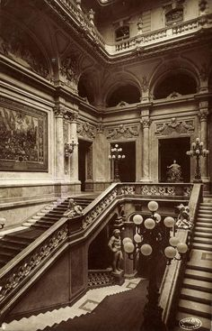 The grand staircase inside the Royal Palace, Budapest Architecture Mapping, Classical Architecture, Historical Architecture, Amazing Architecture, Castle Painting, Buda Castle, Old Portraits, Perspective Photography, Grand Staircase