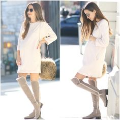 """Something Navy """"Knee-high shearling lined boots? Stuart Weitzman … Something Navy """"Knee-high shearling lined boots? Elegant Maternity Dresses, Winter Maternity Outfits, Pregnancy Outfits, Maternity Wear, Maternity Fashion, Baby Shower Outfit For Guest, Style Feminin, Clothes For Pregnant Women, Baby Bump Style"""