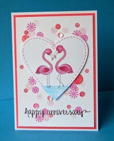 Anniversary Flamingos Card using Flirty Flamingos stamp set by Newton's Nook designs
