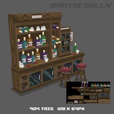 Brendan Sullivan - Portfolio - 3D Pixel-Art Back of Bar (Commission) on ArtStation at http://www.artofsully.com/projects/oRk24?album_id=560266