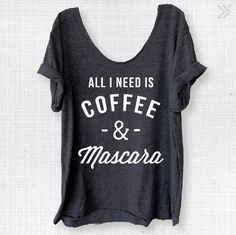 COFFEE & Mascara Charcoal/White Off Shoulder Triblend Raw Edge Beachy Swanky Tee Funny Graphic Tee Yoga Top Namaste - ONE SIZE