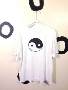 90s White Yin Yang T Shirt Size Extra Large by badatpettingcats, $14.00