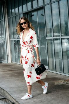 Get Pernille Teisbaek's Incredibly Cool Dress and Sneakers Look