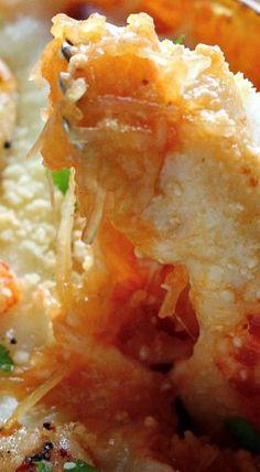 Skinny Shrimp Parmesan Spaghetti Squash
