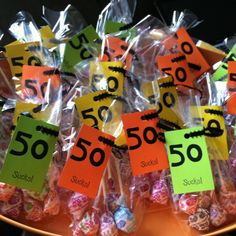 Great party favors for a 50th birthday party! Inexpensive and a huge hit with guests!