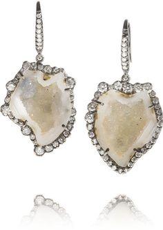 18-karat blackened white gold, diamond and geode earrings