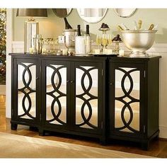 Mirrored Buffet Table for Dining Room   Home Ideas   Pinterest ...