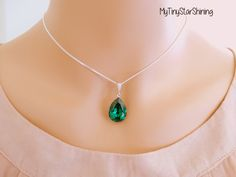 Emerald Necklace Green Emerald NecklaceTeardrop Necklace Sterling Silver Necklace Wedding Jewelry by MyTinyStarShining on Etsy https://www.etsy.com/listing/111807153/emerald-necklace-green-emerald