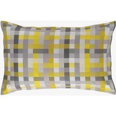 Pixelate Grey And Yellow Patterned Jacquard Rectangular Pillowcase ($28) ❤ liked on Polyvore featuring home, bed & bath, bedding, bed sheets, pillows, grey and saffron yellow, grey bedding, european pillowcases, pattern pillowcase i euro pillowcase