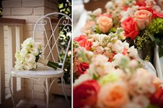 Coral and ivory bouquets.  Flowers by The Blooming Gallery.  Photographs by Stacy Cross Photography.
