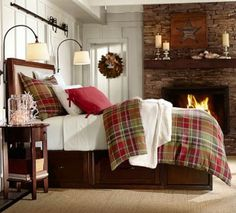 Christmas Bedroom Ideas- I won't pass the opportunity to have a fireplace in my room