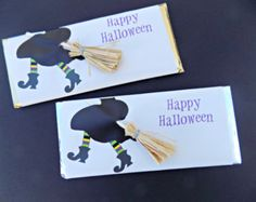 Witch on a Broom Party Favors with embellishments-Personalized Candy Bar Wrapper with chocolate--Halloween party-witch