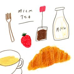 cafe on Behance Recipe Drawing, Food Sketch, Little Doodles, Graphic Wallpaper, Aesthetic Drawing, Food Drawing, Food Waste, Beautiful Drawings, Food Illustrations