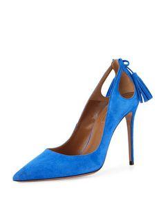 Forever Marilyn Cutout Pump, Mondrian Blue by Aquazzura at Neiman Marcus.