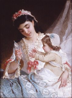 Mother and child painting by Emile Munier. #art
