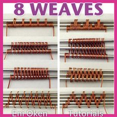 8 Classic Wire Weaves PDF tutorial Creating woven wirework is one of the basic skills any wire-wrapping jewelry maker should have in their arsenal. This tutorial shows step by step how to weave 8 weaves most commonly used by wire wrappers, so that you can Wire Crafts, Jewelry Crafts, Handmade Jewelry, Jewelry Tree, Stamped Jewelry, Earrings Handmade, Bijoux Wire Wrap, Wire Wrapped Jewelry, Aluminum Wire Jewelry