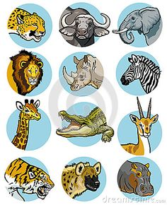 Icons Set With African Animals Stock Vector - Illustration of herbivore, image: 29149041 Zoo Drawing, World Icon, Royalty Free Icons, Image Icon, Animal Sketches, African Animals, Animals Of The World, Icon Set, Wild Animals