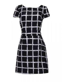 Chiffon Plaid Round Neck Short Sleeve Mini Dress