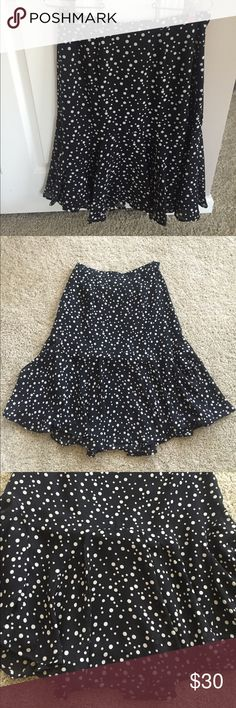 Polka dot skirt Black and cream polka dot skirt , with cute pleats near the bottom . 100% polyester Ruby Rd. Skirts Midi