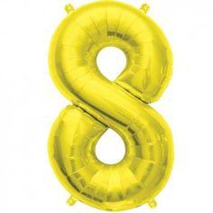 """Ballon chiffre """"8"""" or - 40 cm"""