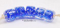 $27 Cobalt BLING Chubby Cylinders - Handmade lampwork art beads, jewelry & supplies by Bastille Bleu Lampwork