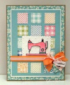 by Sylvia Nelson.... cute quilted-look along with the sewing machine!