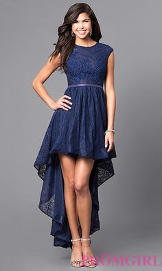 Image of high-low lace short prom dress with back cut out. Style: LP-24100 Front Image