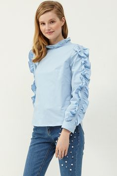 Ivana Ruffle Sleeve Blouse >>Discover the latest fashion trends online at storets.com #blueblouse #rufflblouse #rufflesleevblouse