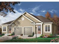 Front PRIMARY STYLE:Bungalow BEDROOMS:2 BATHS:2 STORIES:1 GARAGE BAYS:2 LIVING AREA:1,852 sq. ft. WIDTH/DEPTH:52' x 44'