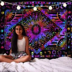 Buy By India Handmade Twin Size Indian Handmade Printed Galaxy Sun Moon Stars Multi Color Tie Dye Tapestry Wall Hanging Bohemian Tapestry Picnic Beach Yoga Mat Hippie Tapestry Cotton Unique Home Decor Bedspread at Wish - Shopping Made Fun