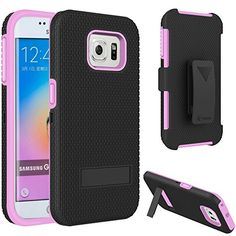 S6 Edge Case,VAKOO Heavy Duty Samsung Galaxy S6 Edge Armor Kickstand Case with Locking Belt Swivel Clip - Pink Vakoo http://www.amazon.com/dp/B00XYICK26/ref=cm_sw_r_pi_dp_cr-Ivb1E148TK
