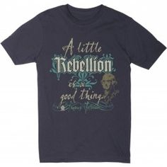 """Made in the USA - The """"a Little Rebellion"""" T-Shirt is fashionable and fun. This shirt comes as a V-neck in black, or a crew-neck in slate. This T-shirt is mad..."""