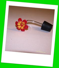 Hummingbird Feeder Stoppers And Tubes W.flower Set Of 10 (bn-r/y)