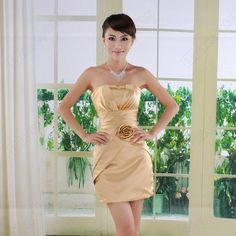 Discount China china wholesale Gold Strapless Slim Pleated Bodice Floral Above Knee Short Dress [31057] - US$38.99