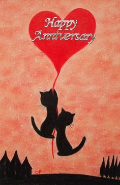 Anniversary Card: Cats Heart Card, Anniversary Cats Card, Anniversary Heart Card £2.20