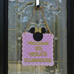Personalized Minnie Mouse inspired Club house Sign, Bow-tique Door Sign, Pink and Gold glitter Polka dot by CelebrateCustomEvent on Etsy