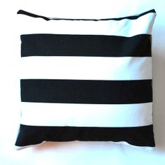 Decorative large black and white stripes throw pillow by plonka, $24.00