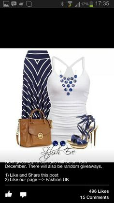 Lovely summer outfit idea. The blue and white striped maxi skirt is an eye catcher!