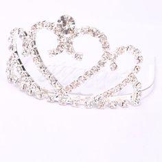 Medium Heart Rhinestone Crown Comb Hair Clip Tiara Silver