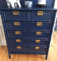 Navy blue/faux bamboo/chinoiserie/campaign/dresser/chest/tall boy by LaPetiteEtoiledeMer on Etsy https://www.etsy.com/listing/465255661/navy-bluefaux