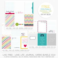 Cute! Free Printable! Will go great with Cobalt And Clementine.   http://www.sugarhillco.com/shop/Live-Free-Love-Life-Bundle-CU/
